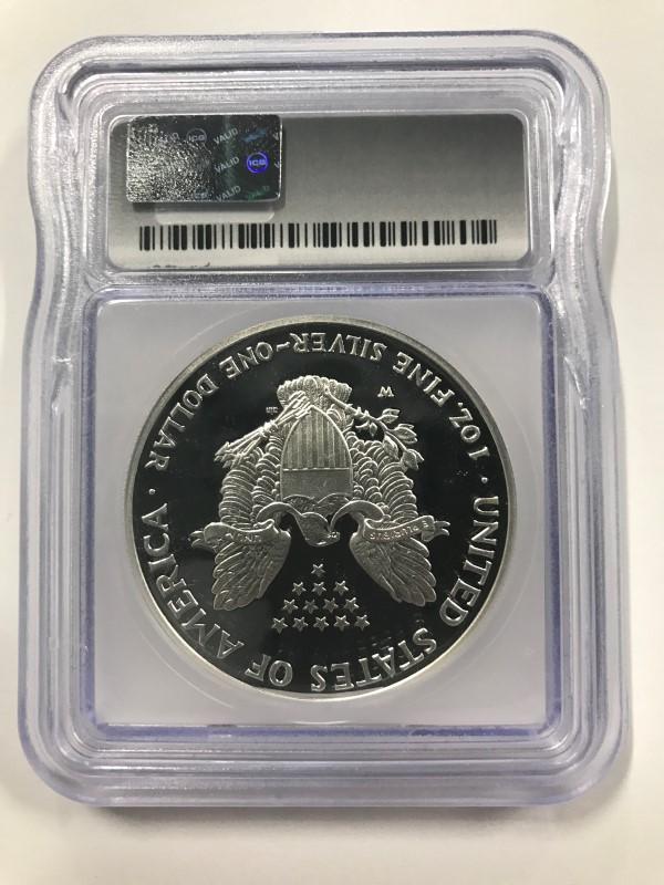 2007-W $1 SILVER EAGLE ICG PR69 DCAM