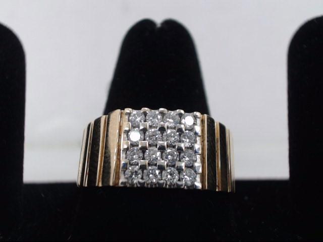 Gent's Diamond Cluster Ring 16 Diamonds .96 Carat T.W. 14K Yellow Gold 8g