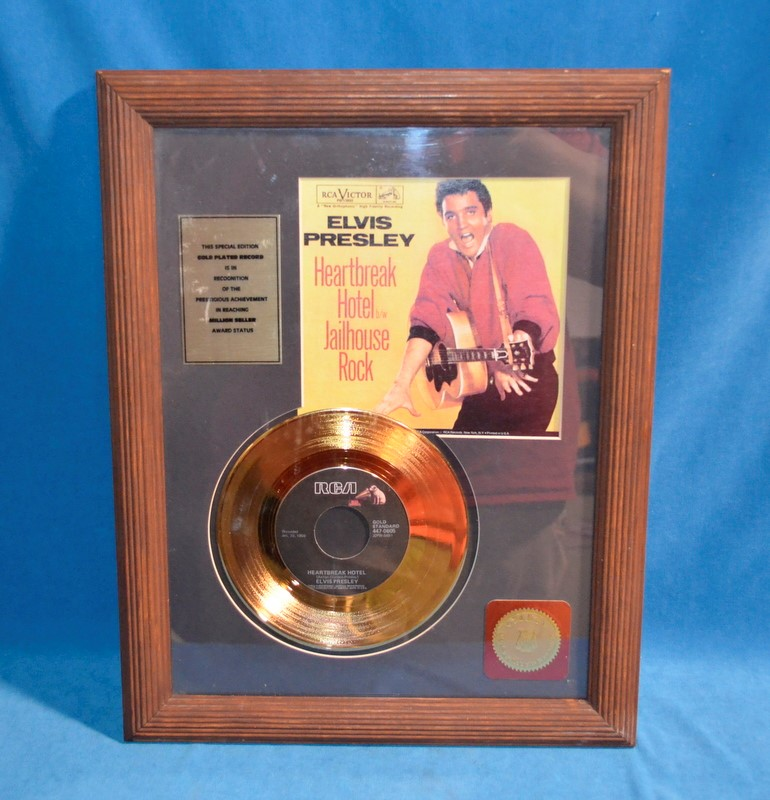 ELVIS PRESLEY 24KT GOLD PLATED RECORD JAILHOUSE ROCK/HEARBREAK HOTEL W/ SLEEVE
