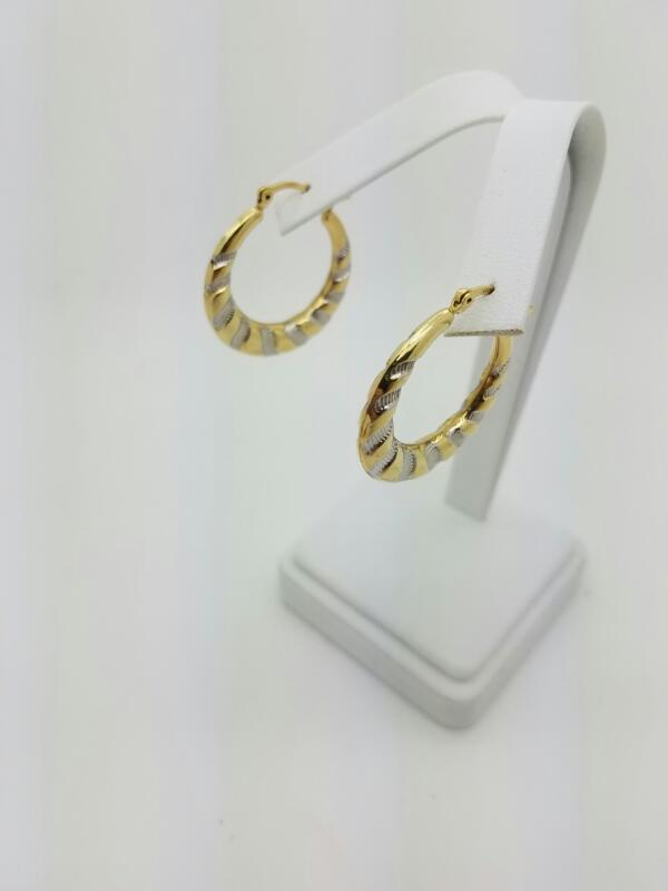 HOOP Gold Earrings 10K 2 Tone Gold 1.9dwt