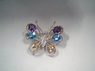 Synthetic Amethyst Gold-Diamond-Stone Brooch 5 Diamonds .06 Carat T.W.