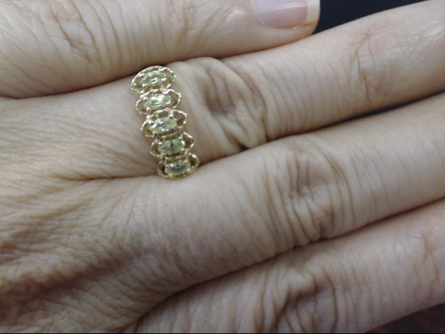 VINTAGE MARQUISE PERIDOT ANNIVERSARY RING BAND SOLID 10K GOLD SZ 6.5