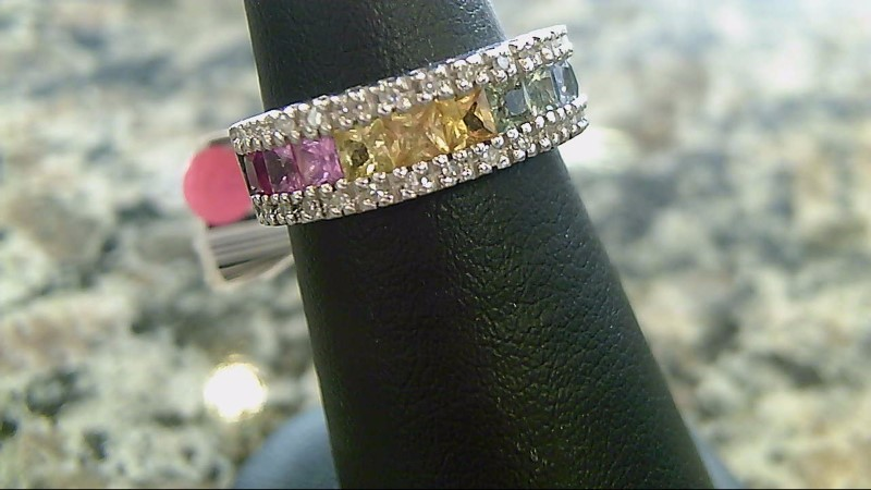 Synthetic Rainbow Sapphires and Diamond 14K White Gold Ring