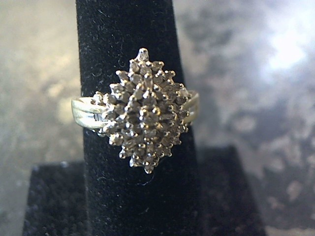 Lady's Diamond Cluster Ring 50+ Diamonds .50 Carat T.W. 10K Yellow Gold 2.5dwt