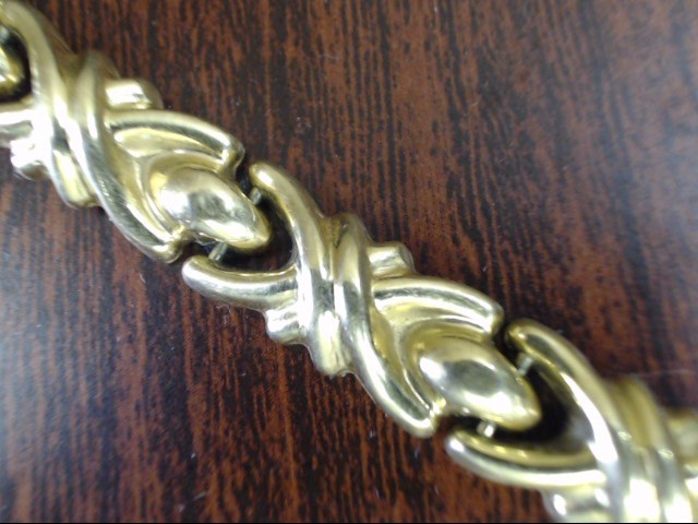 VINTAGE LINK BRACELET SOLID REAL 18K GOLD SCROLL FLAT XO ITALY 7""