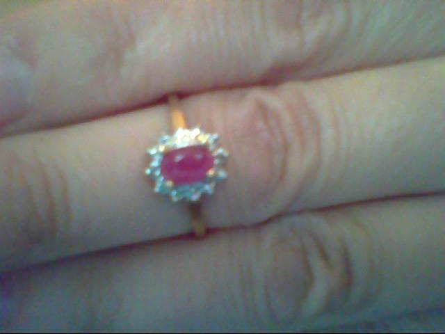 Red Stone Lady's Stone & Diamond Ring 2 Diamonds .004 Carat T.W.