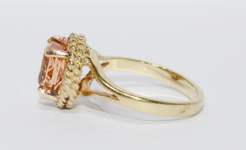 10K Yellow Gold Large Oval Citrine Split Shank Rope Detail Ring sz 8