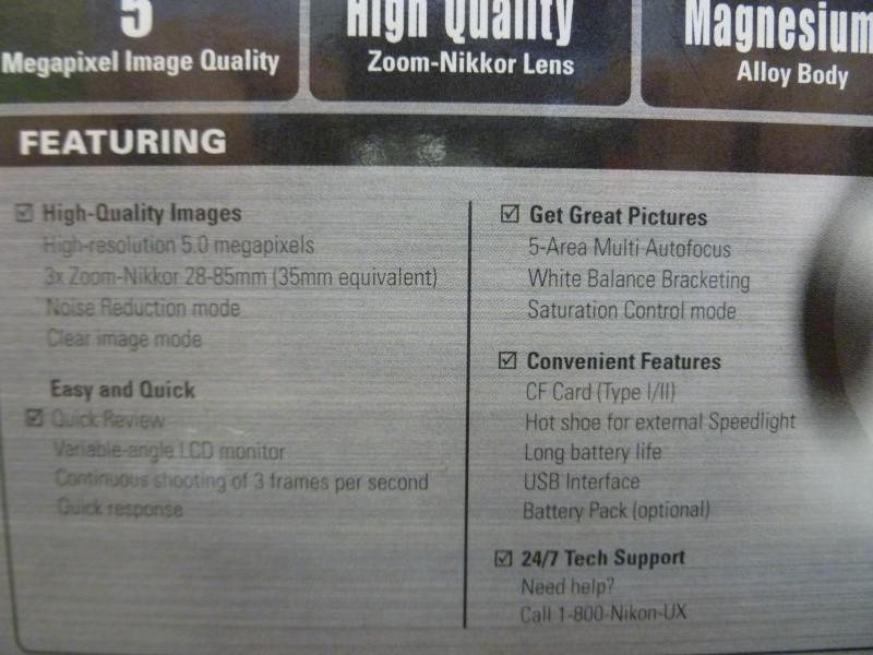 NIKON COOLPIX 5000 5MP DIGITAL CAMERA WITH 3X ZOOM (ORIGINAL BOX/ACCESSORIES)
