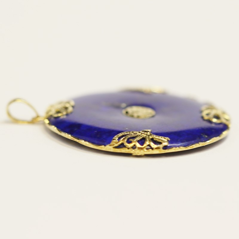 Round Cut Lapis 14K Yellow Gold Chinese Symbol Pendant