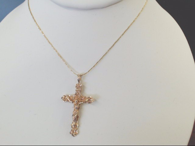 VINTAGE CROSS CRUIFIX PENDANT CHARM SOLID 10K GOLD CATHOLIC CHRIST