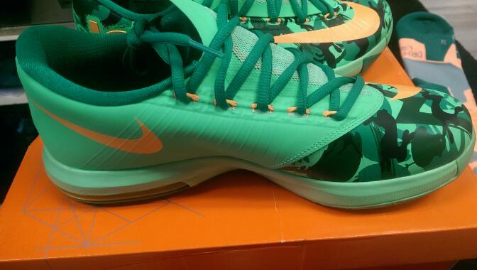 Nike 599424-303 2013 KD IV sz 9.5 Men's Basketball Shoes   GRN/ORG