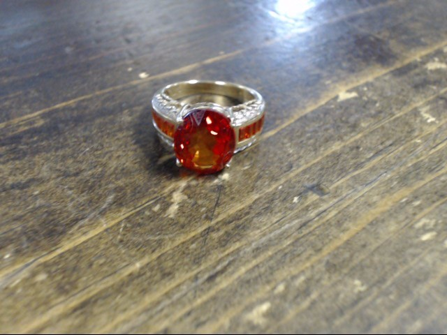 Orange Stone Lady's Stone Ring 10K Yellow Gold 5.5g Size:7