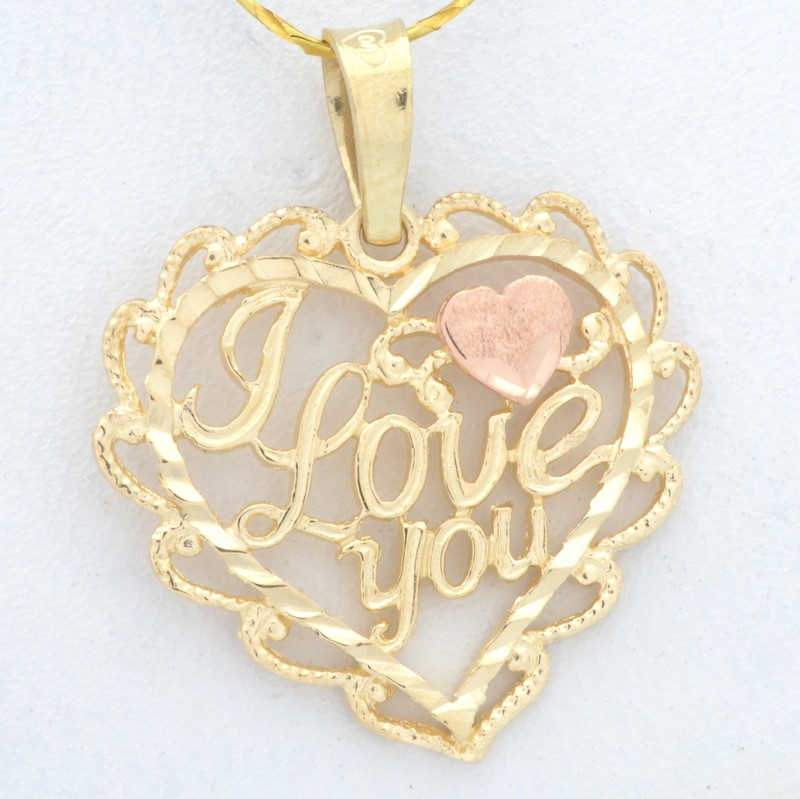 I LOVE YOU HEART CHARM PENDANT SOLID REAL 14K GOLD PROMISE VALENTINE