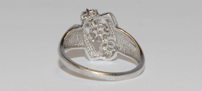 Women's White Gold Unique Triple Round Cut Diamond Cluster Ring Size 7