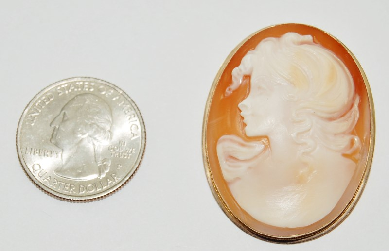 14K Solid Yellow Gold Large Carnelian Shell Cameo Pendant Brooch/Pin
