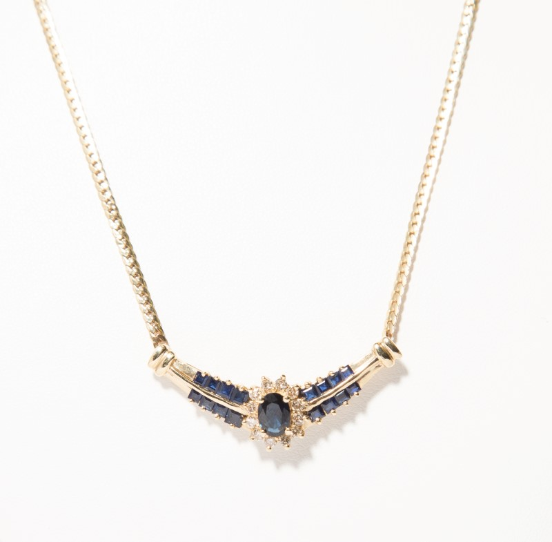 Sapphire Diamond & Stone Necklace 12 Diamonds .24 Carat T.W. 14K Yellow Gold