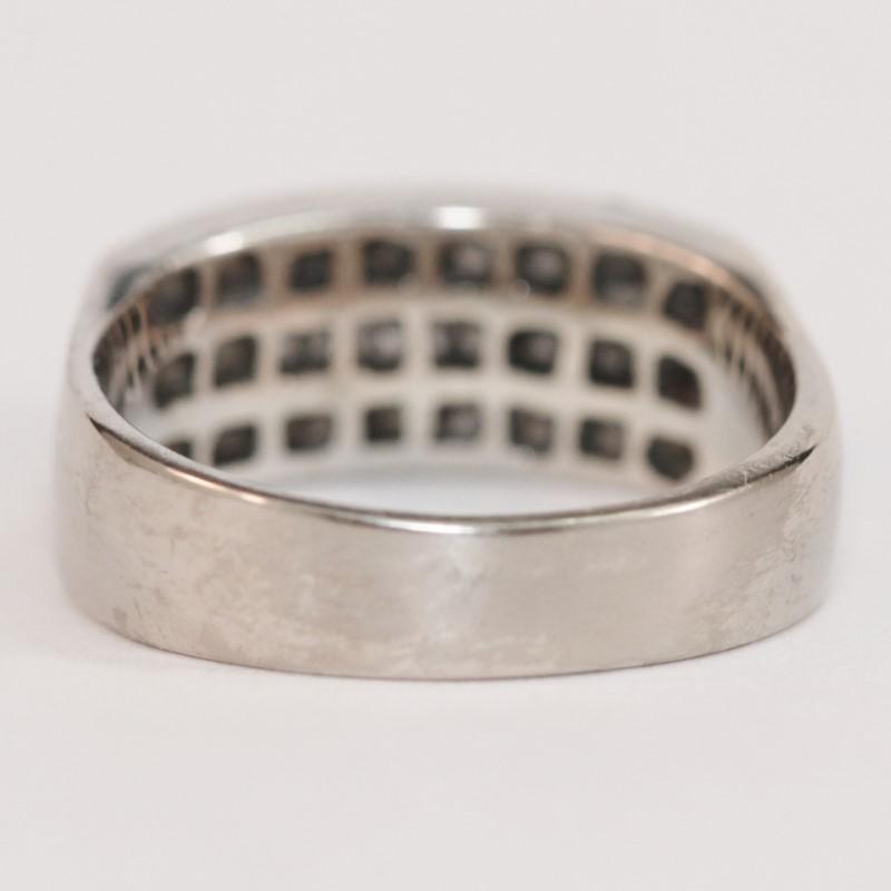 18K White Gold Princess Cut Diamond Cluster Ring Size 6.8