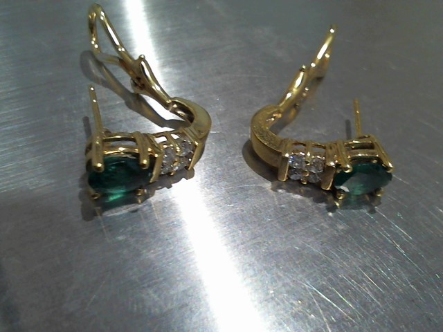 Synthetic Emerald Gold-Diamond & Stone Earrings 4 Diamonds .24 Carat T.W.