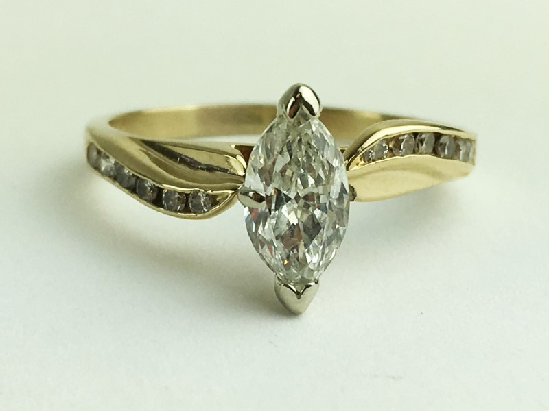 Lady's Diamond Engagement Ring 13 Diamonds 1.00 Carat T.W. 14K Yellow Gold