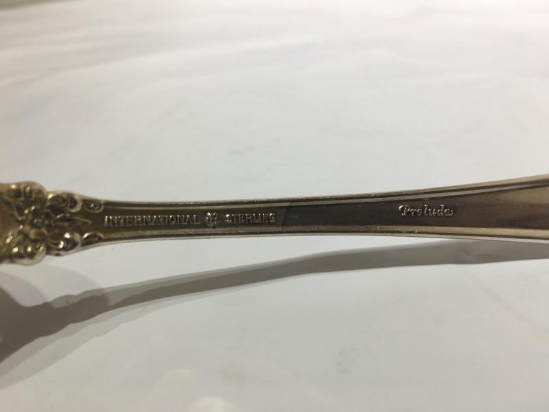"Prelude by International Sterling Silver 8-1/2"" Pierced Tablet Spoon NO MONO"
