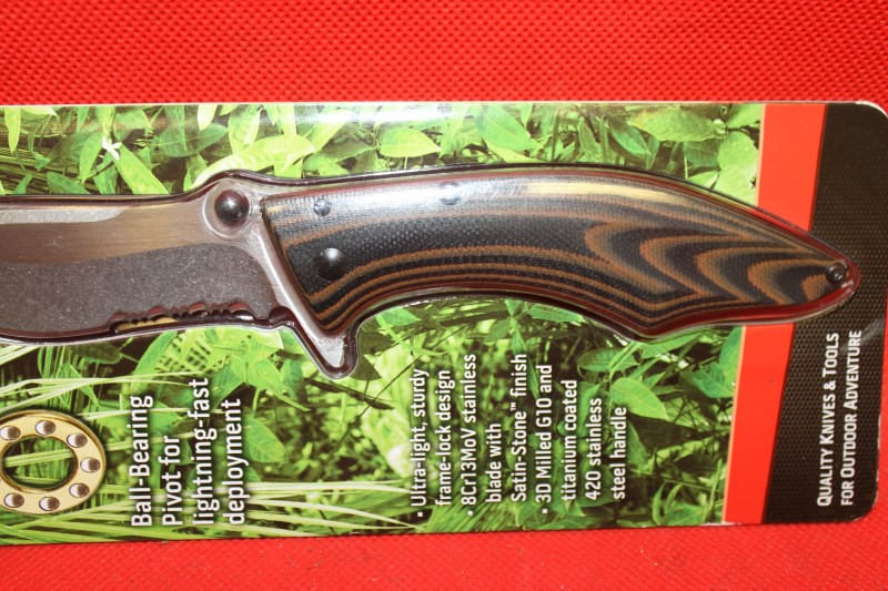 Outdoor Edge OECQ30 Small Conquer Folding Knife w/Brown Handle