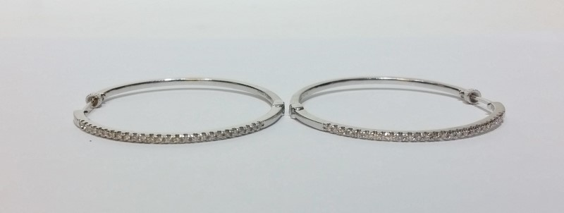 Gabriel & Co 14k White Gold 1/2 Carat TW Diamond Hinge Hoop Earrings