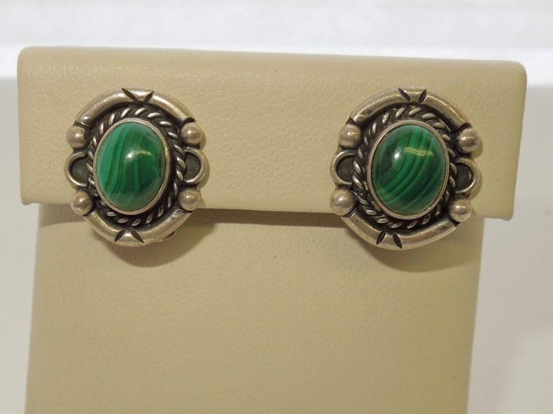 Synthetic Jade Silver-Stone Earrings 925 Silver 6.6g