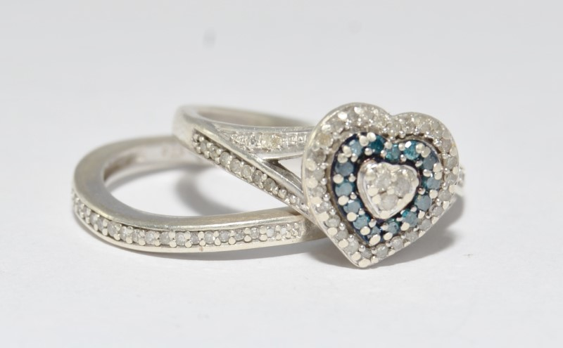 Sterling Silver Heart Shaped Blue & Black Diamond Cluster Engagement Wedding Set