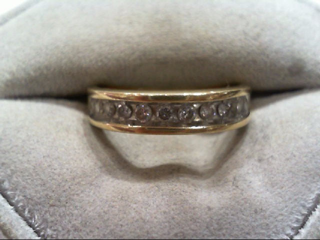 Gent's Gold-Diamond Wedding Band 11 Diamonds .33 Carat T.W. 14K Yellow Gold