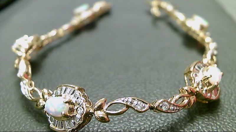 Synthetic Opal Silver-Stone Bracelet 925 Silver 13.5g