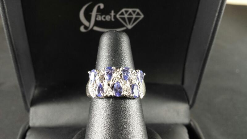 Pear Amethyst CZ Lady's Silver & Stone Ring 925 Silver