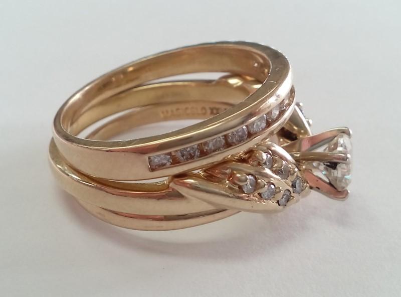 Lady's Diamond Wedding Set 25 Diamonds .64 Carat T.W. 14K Yellow Gold 7.29g