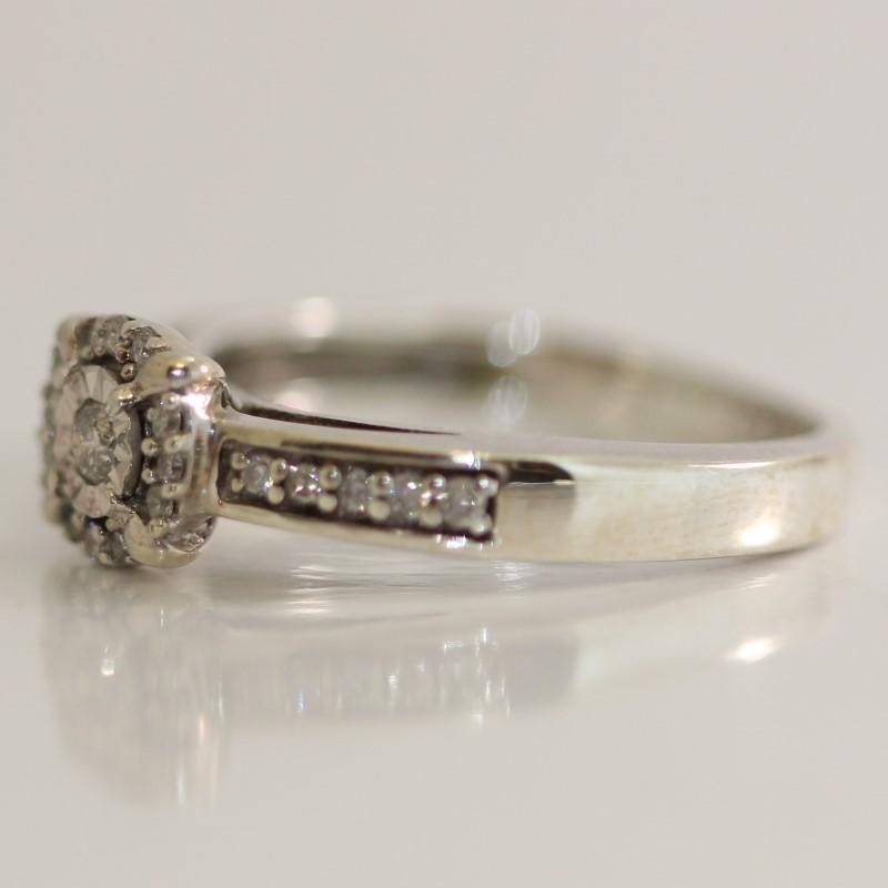 Sterling Silver Round Brilliant Diamond Ring Size 8