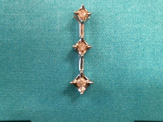 Gold-Multi-Diamond Pendant 3 Diamonds 0.15 Carat T.W. 10K White Gold 0.6dwt