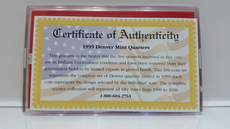 1999 Denver Mint State Quarter Collection DE, PA, NJ, GA, CT