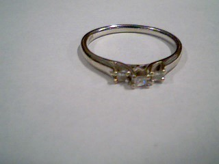 Lady's Gold-Diamond Anniversary Ring 3 Diamonds .22 Carat T.W. 10K White Gold
