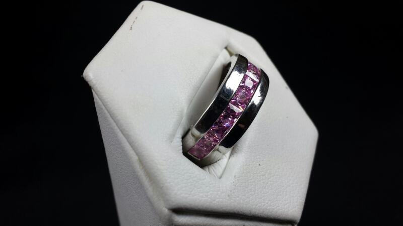 Synthetic Princess Cut Pink Tourmaline Lady's Sterling Silver Ring 925