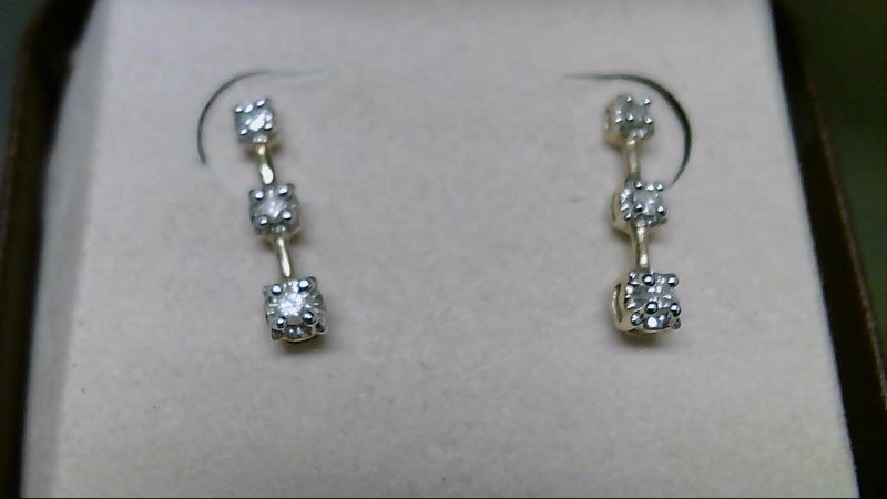 Gold-Diamond Earrings 6 Diamonds .06 Carat T.W. 10K Yellow Gold 1.6g