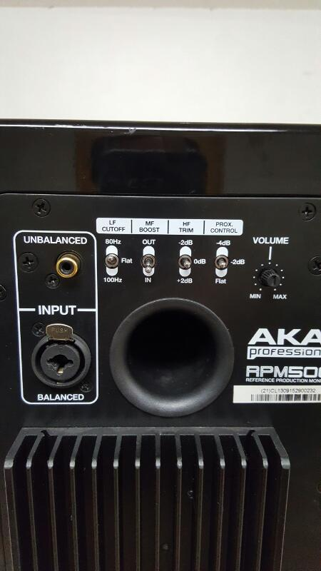 Akai RPM500 Black Bi-Amped Studio Monitor Proximity Control Single
