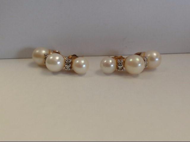 Synthetic Pearl Gold-Diamond & Stone Earrings 16 Diamonds .16 Carat T.W.