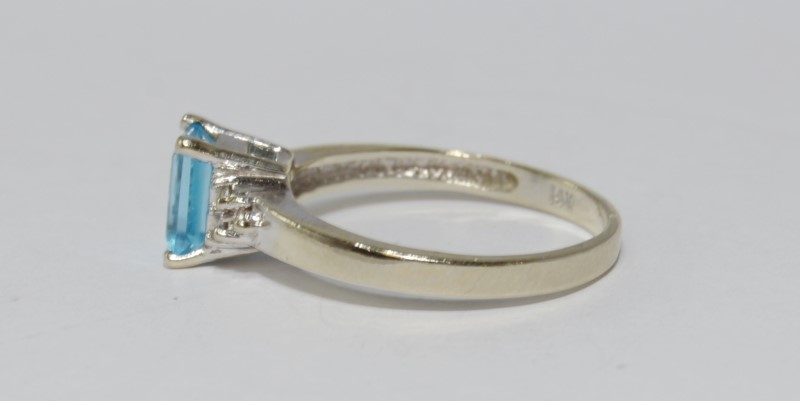 14K Yellow Gold Emerald Cut Blue Topaz & Diamond Solitaire w/ Accents Ring 7.75