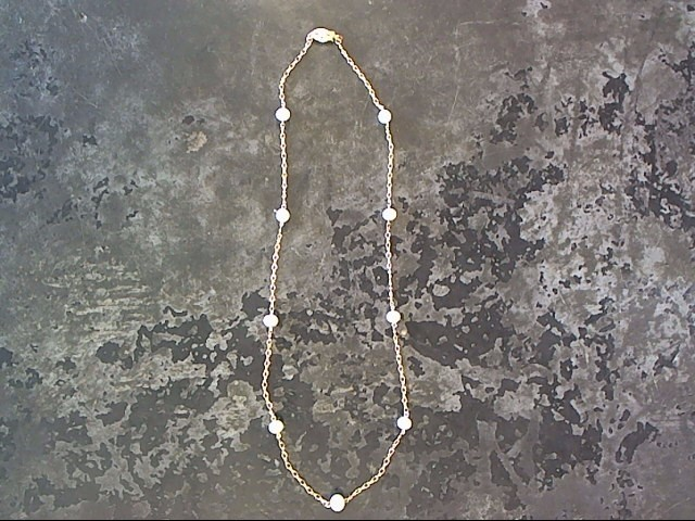 Synthetic Pearl Stone Necklace 14K Yellow Gold 3.6dwt