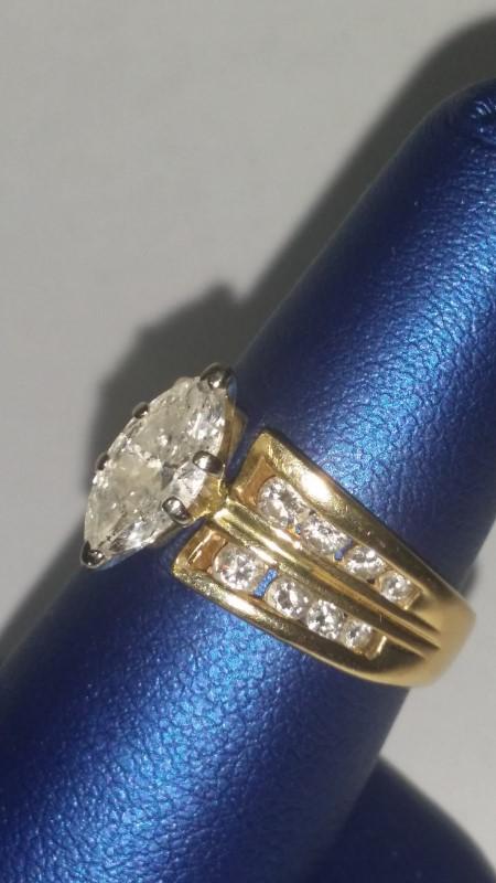Lady's Diamond Wedding Set 17 Diamonds 1.28 Carat T.W. 14K Yellow Gold 5.7g
