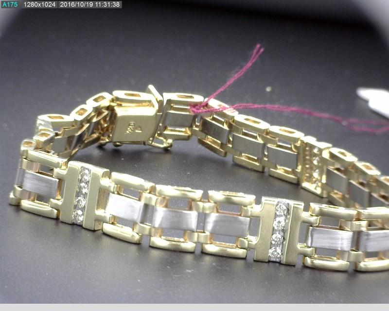 "10K TWO TONE MEN'S BRACELET 20 DIAMONDS APX.40CTW 27G 8.5"""
