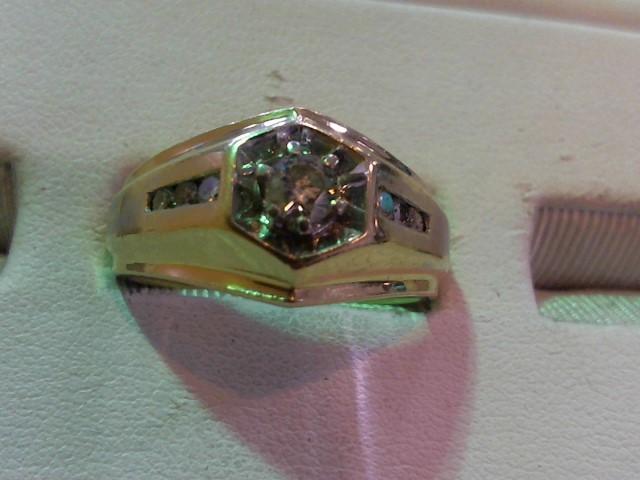 Gent's Diamond Cluster Ring 7 Diamonds .26 Carat T.W. 14K Yellow Gold 8.3g