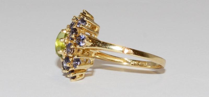 14K Women's Yellow Gold Halo Set Cabochon Peridot & Tanzanite Ring Size 7