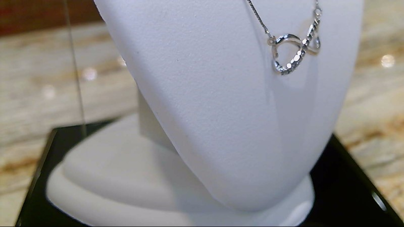 "Lady's 10k white gold apx. .10ctw diamond infinity 18"" necklace"