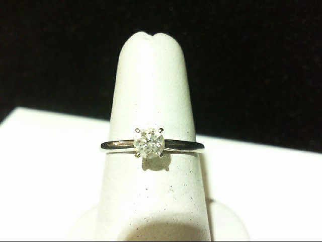 Beautiful Lady's Diamond Solitaire Ring with Bright .38 CT. 14K White Gold 1.6g