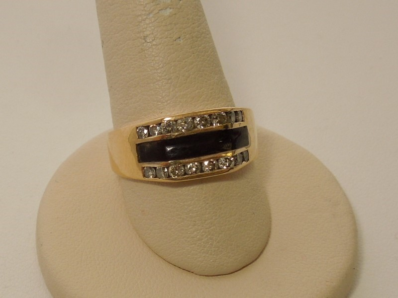 Black Stone Gent's Stone & Diamond Ring 16 Diamonds .48 Carat T.W.
