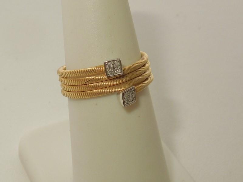 Lady's Diamond Fashion Ring 8 Diamonds .016 Carat T.W. 14K 2 Tone Gold 2.3g